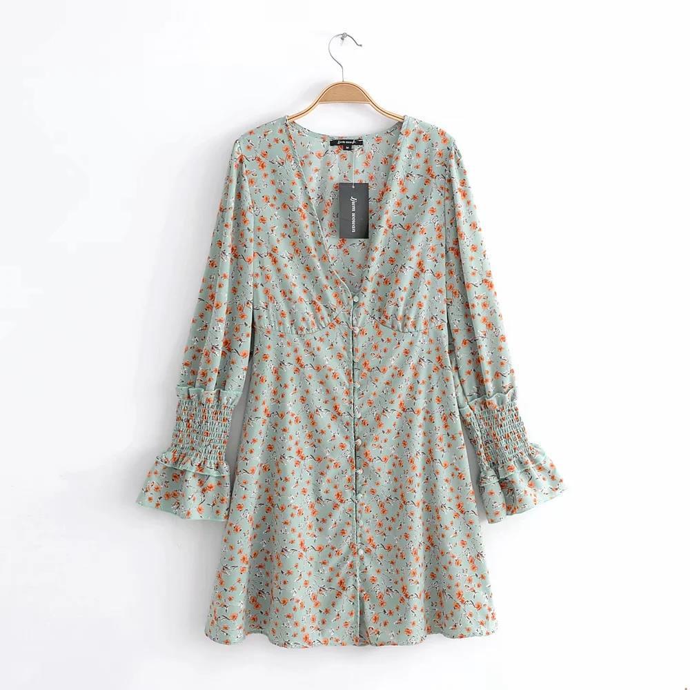 2020 New Fashion Brand Women Dress Beach Girl Causal Dress Flare Sleeve A-line Casual Summer Cotton Print Full Above Knee, Mini