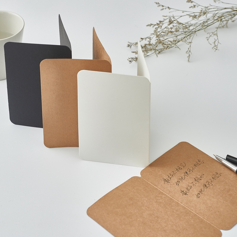 Coloffice 10PCs/Set  Simple Vintage Simple Envelope Card Paper Kraft Paper 2-Page Folded Blank Retro  DIY Creative Greeting Card