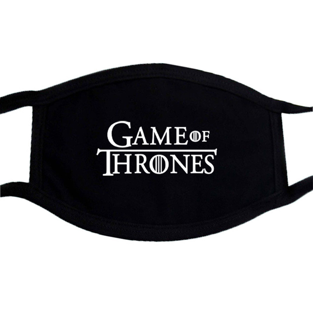 Game of Thrones Printing Mask Black Mouth-Muffle Washable Respirator Fabric Face Mask Reusable Fashion Mouth Cover Kpop 2