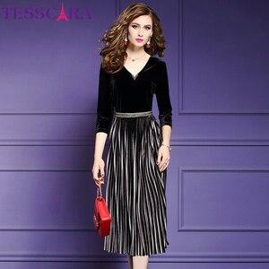 Image 3 - TESSCARA kobiety eleganckie frezowanie aksamitna sukienka Festa kobieta wydarzenie szata na imprezę wysokiej jakości projektant plisowane Vestidos Plus rozmiar M 4XL