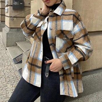 Toppies 2020 automne hiver Plaid surdimensionné vestes lâche casual damier Streetwear manteau 1