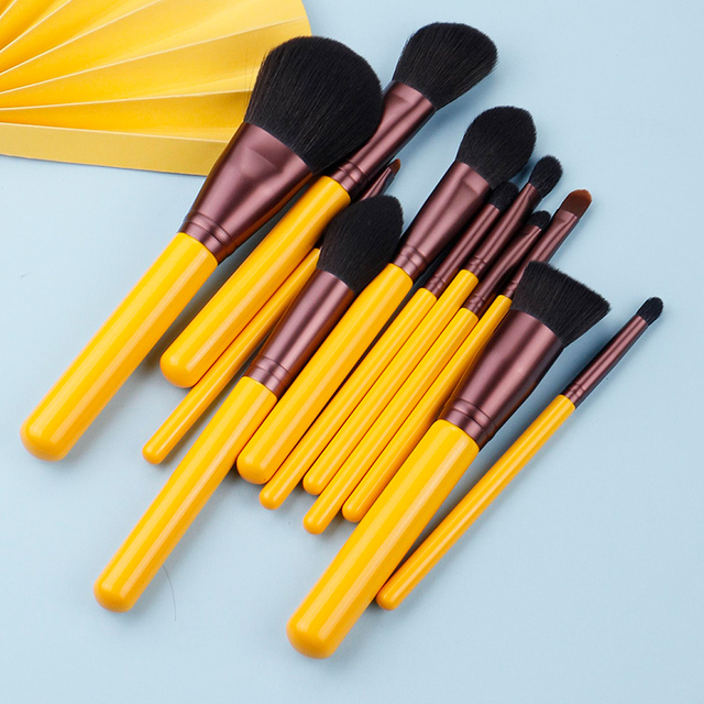 MyDestiny makeup brush-Yellow series 11pcs synthetic hair brushes set-face&eye cosmetic pen-artificial hair-beauty-beginer tool