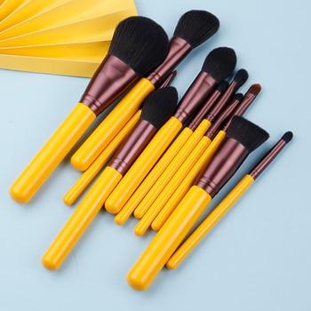MyDestiny makeup brush-Yellow series 11pcs synthetic hair brushes set-face&eye cosmetic pen-artificial hair-beauty-beginer tool