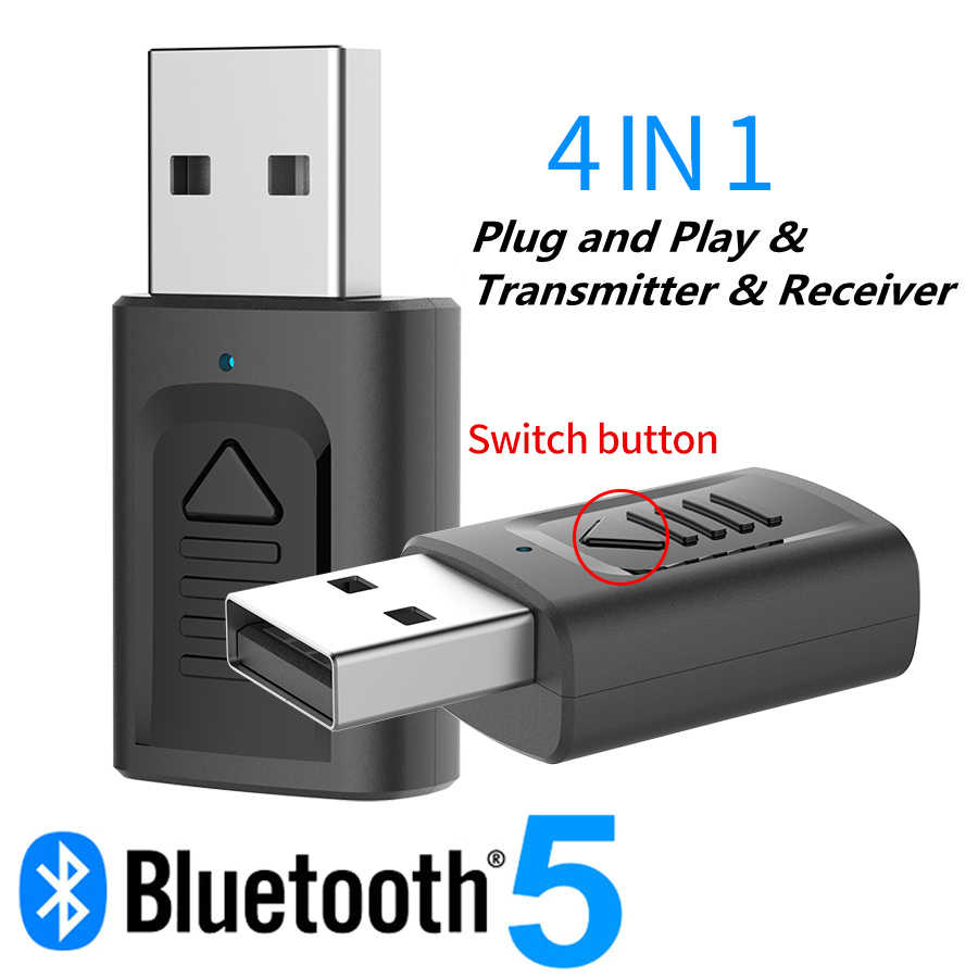 Receptor y transmisor de Audio 4-en-1 USB Bluetooth 5,0, Mini transmisor de Audio estéreo con Bluetooth, AUX, RCA, conector USB de 3,5mm para TV, PC y adaptador inalámbrico de coche