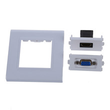 Ams-Vrouwelijke Hdmi Vga Socket Jack Outlet Component Composite Video Wall Panel Plate(China)