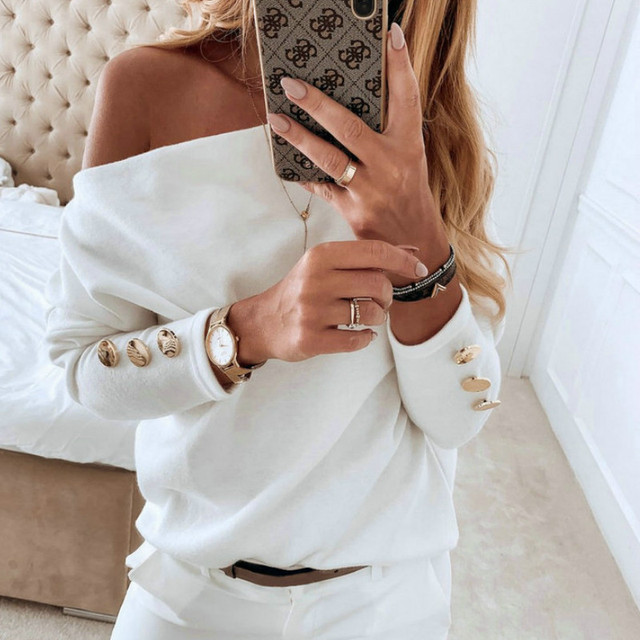 2019  Sexy Off Shoulder Tops and Shirt Sexy Off Shoulder Long Sleeve Solid Color Women Blouse Fall Clothing 4