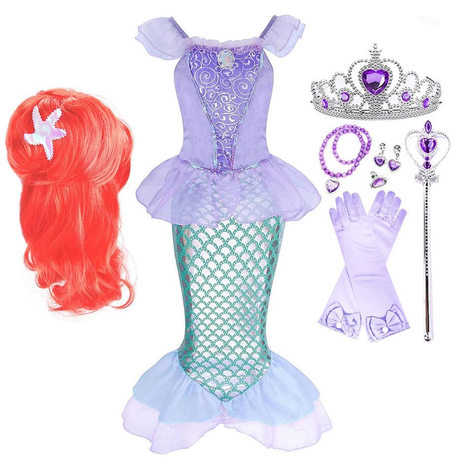 Girl Princess Dress Mermaid Girl Ariel Dress Halloween Fancy Costume Kids Baby Girl Carnival Birthday Party Clothes 3-10 Years