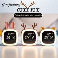 Reloj despertador con termómetro para niños, luz LED nocturna de dibujos animados recargable, regalo de cumpleaños para estudiantes, lámpara de cabecera para habitación