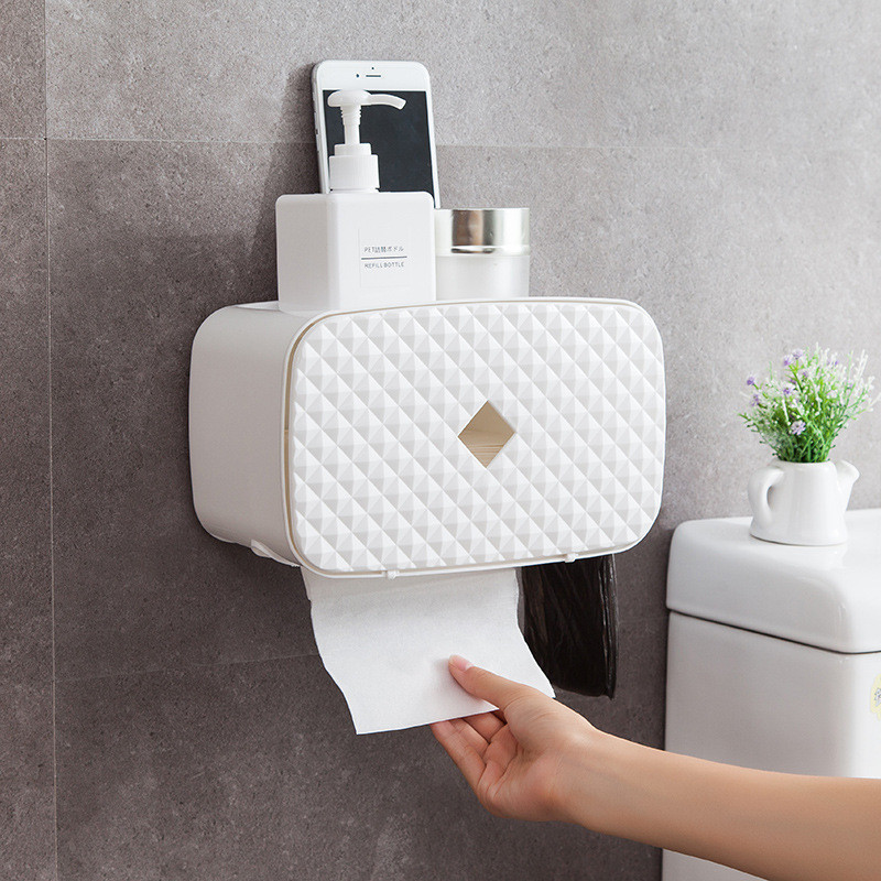 Toilet Roll Holder Shelf Waterproof Paper Towel Holder Wall Mount WC Roll Paper Stand Case Tube Storage Box Bathroom Accessories