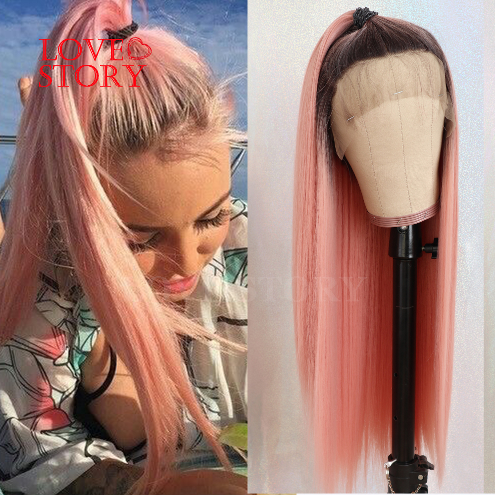 Lovestory Ombre Pink Synthetic Lace Front Wig With Babyhair Silky Straight Heat Resistant Fiber Synthetic Lace Wigs