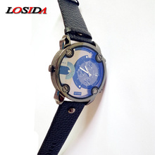 Купить с кэшбэком Losida D Style Big Dial Black Leather Quartz Men Watches Fashion&Casual Watch Sport Outdoor G Military Shock Wristwatch relojio