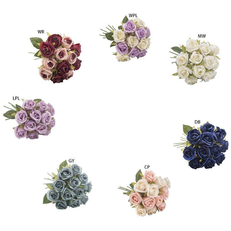 Imitation Silk Artificial Rose Flower 12 Heads Vintage Bouquet For Bridal Bridesmaid Wedding Party Props Garden Home Decoration