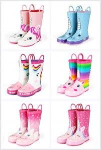 Image 5 - KushyShoo Rain Boots Kids Girl Cute Unicorn Printed Childrens Rubber Boots Kalosze Dla Dzieci Waterproof Baby Water Shoes