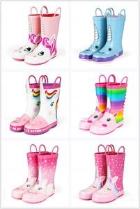 Image 5 - KushyShoo גשם מגפי ילדים ילדה חמוד Unicorn מודפס ילדי של גומי מגפי Kalosze Dla Dzieci עמיד למים תינוק מים נעליים