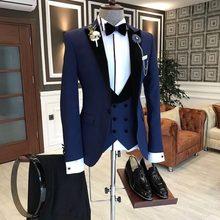 SZMANLIZI 2020 trajes de boda de Azul Real hechos a medida para hombres esmoquin ajustado traje de 3 piezas traje de novio traje de graduación Blazer Terno Masculino