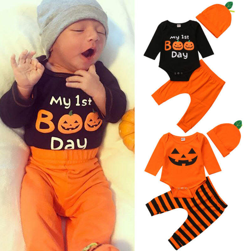 Holiday Newborn Boy Halloween Costume Jumpsuit Cosplay Leotard Pumpkin Long Sleeve+Pants Set My First Boo Day Baby