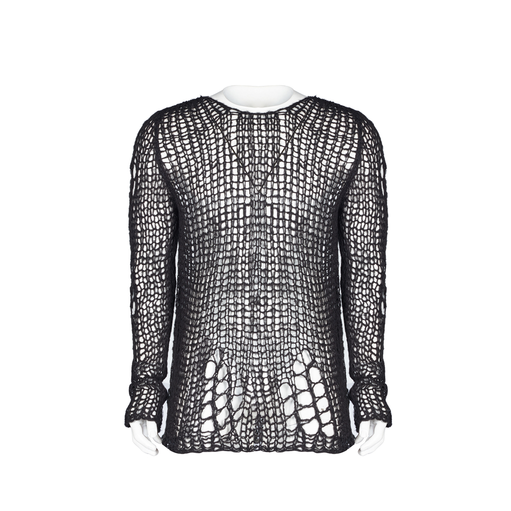 PUNK RAVE Men's Broken Pullover Sweater Gothic Style Personality Long Sleeve Casual Slim Thin Sweater