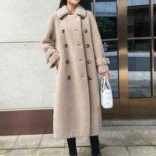 SY12, осенне-зимнее женское пальто из 30% шерсти, меховое пальто, а-образное, на пуговицах, с карманами, для стрижки овец, для девушек, теплое меховое пальто, женская длинная куртка, пальто