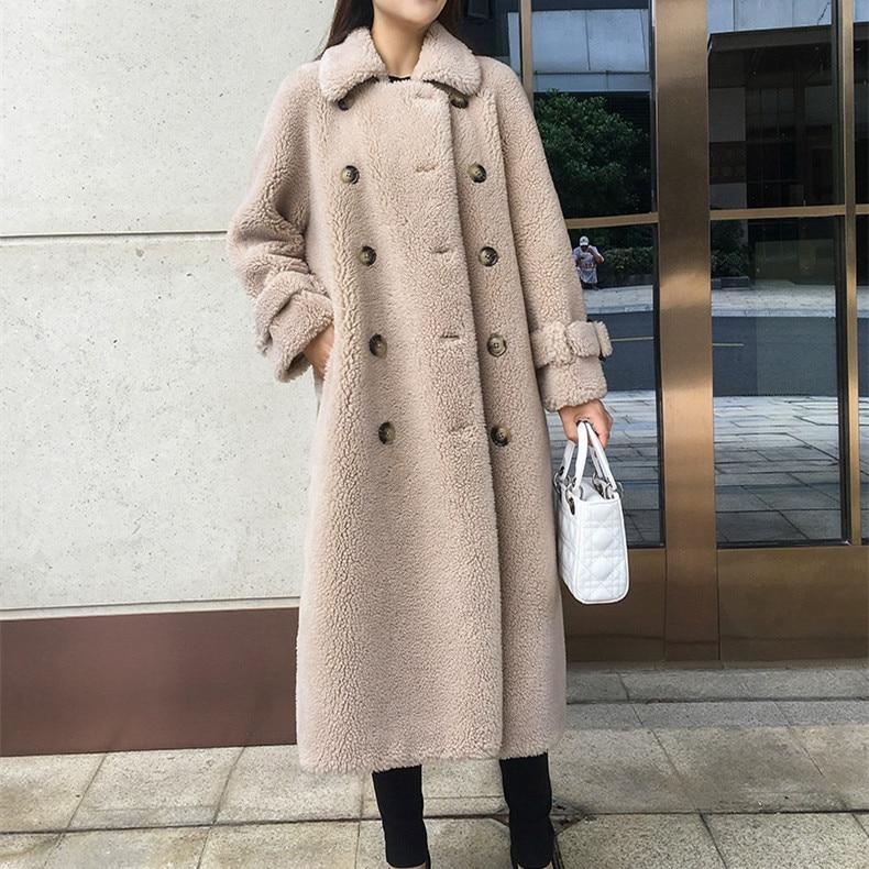 SY12 Fall Winter Women 30% Wool Fur Coat A Shape Button Pocket Sheep Shearing Girl Warm Fur Coats Lady Long Jacket Overcoat