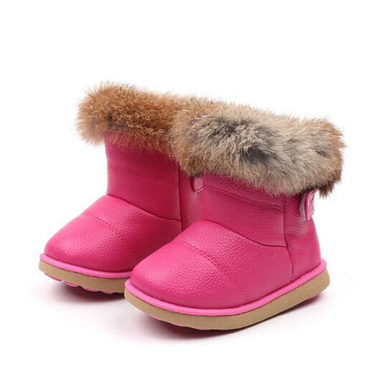 Girls Snow Boots Winter Warm Fashion Boots Children Rabbit Fur Soft Bottom Toddler's Cotton Shoes White 2