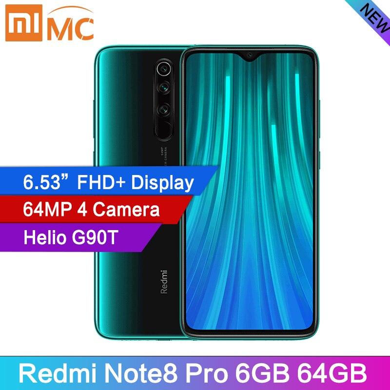 "Original Xiaomi Redmi Note 8 Pro 8GB 128GB 64MP Quad Cameras Smartphone Global Rom NFC 4500mAh 18W MTK Helio G90T 6.53"" FHD+"