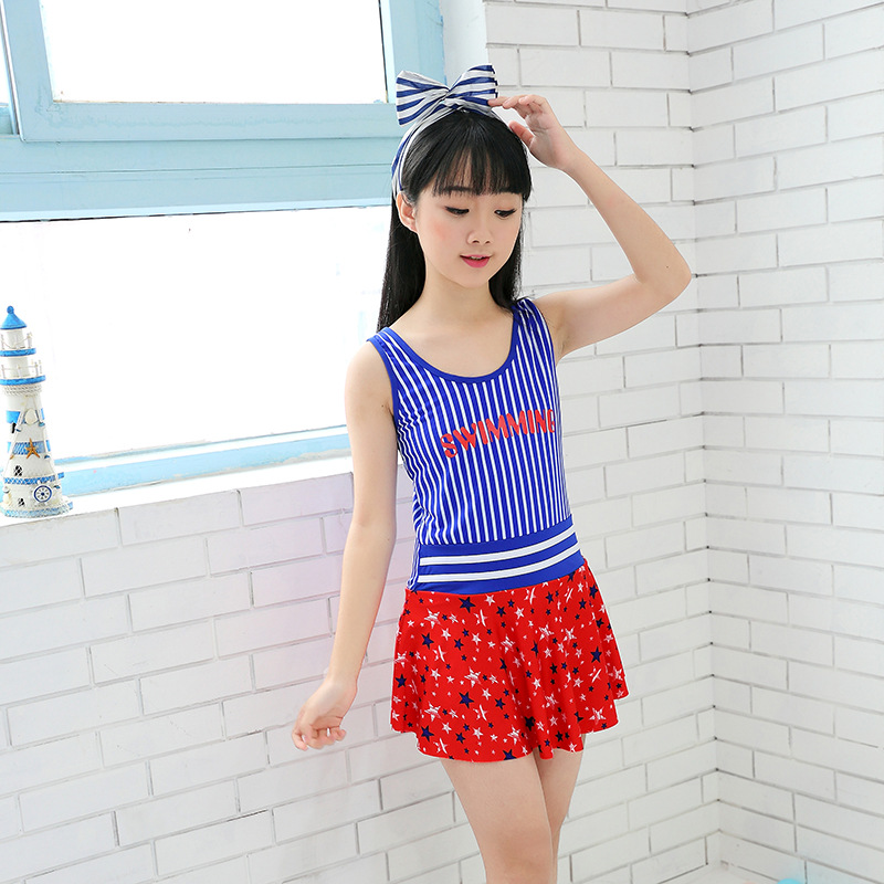 2019 New Style One-piece Stripes Women's Big Boy Children Backless Bathing Suit Cute Star Mesh Dress Tour Bathing Suit