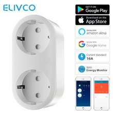 16A WiFi Smart Plug EU Plug 2 In 1 Power Outlet With Energy Monitor APP Remote Control Works With Google Home Alexa IFTTT