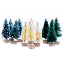 5Pcs 5-16cm Sisal Fiber Mini Christmas Tree Snow Frost Pine DIY Craft Party Table Decoration Ornaments