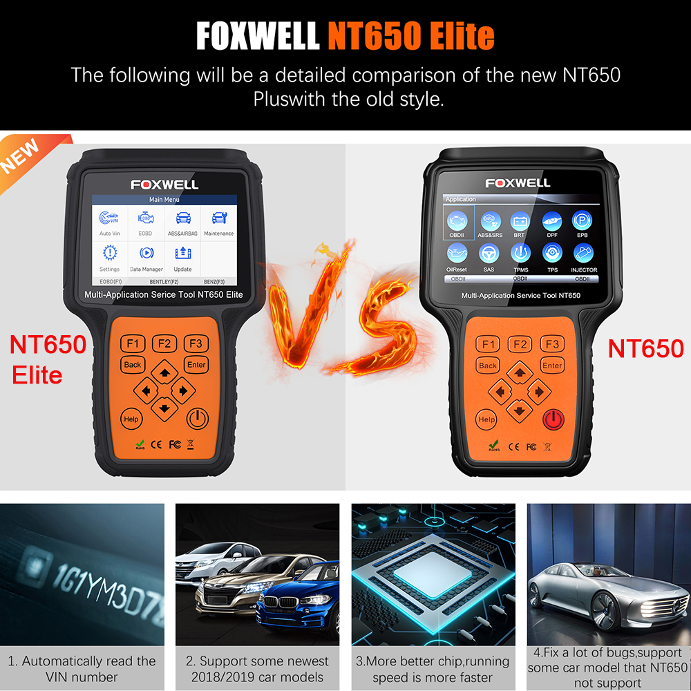 FOXWELL NT650 Elite OBD2 Automotive Scanner ABS SRS SAS DPF Oil Reset Code Reader 6