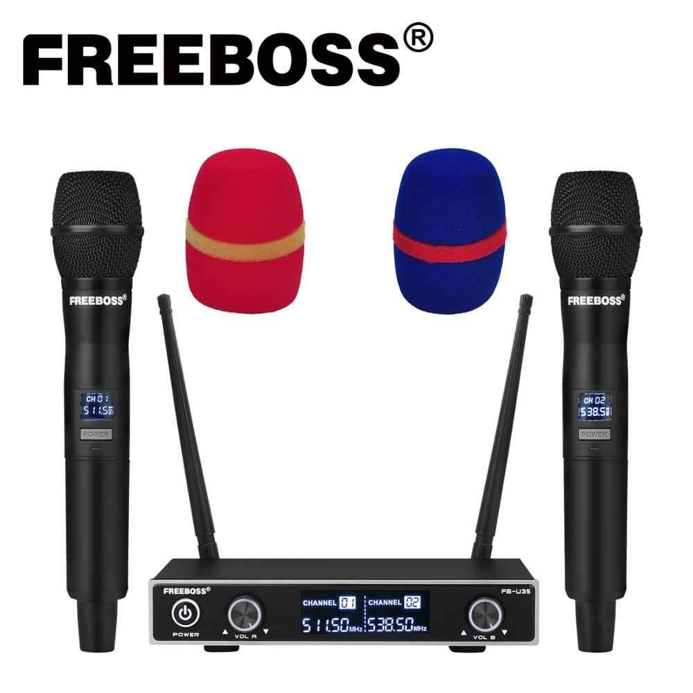 FB-U35 Freeboss ثنائي الاتجاه UHF تردد ثابت كاريوكي حفلة الكنيسة نظام ميكروفون لاسلكي مع 2 ميكروفون محمول باليد