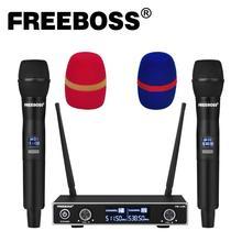 Freeboss FB U35 dupla maneira uhf freqüência fixa karaoke festa igreja sistema de microfone sem fio com 2 microfone de mão