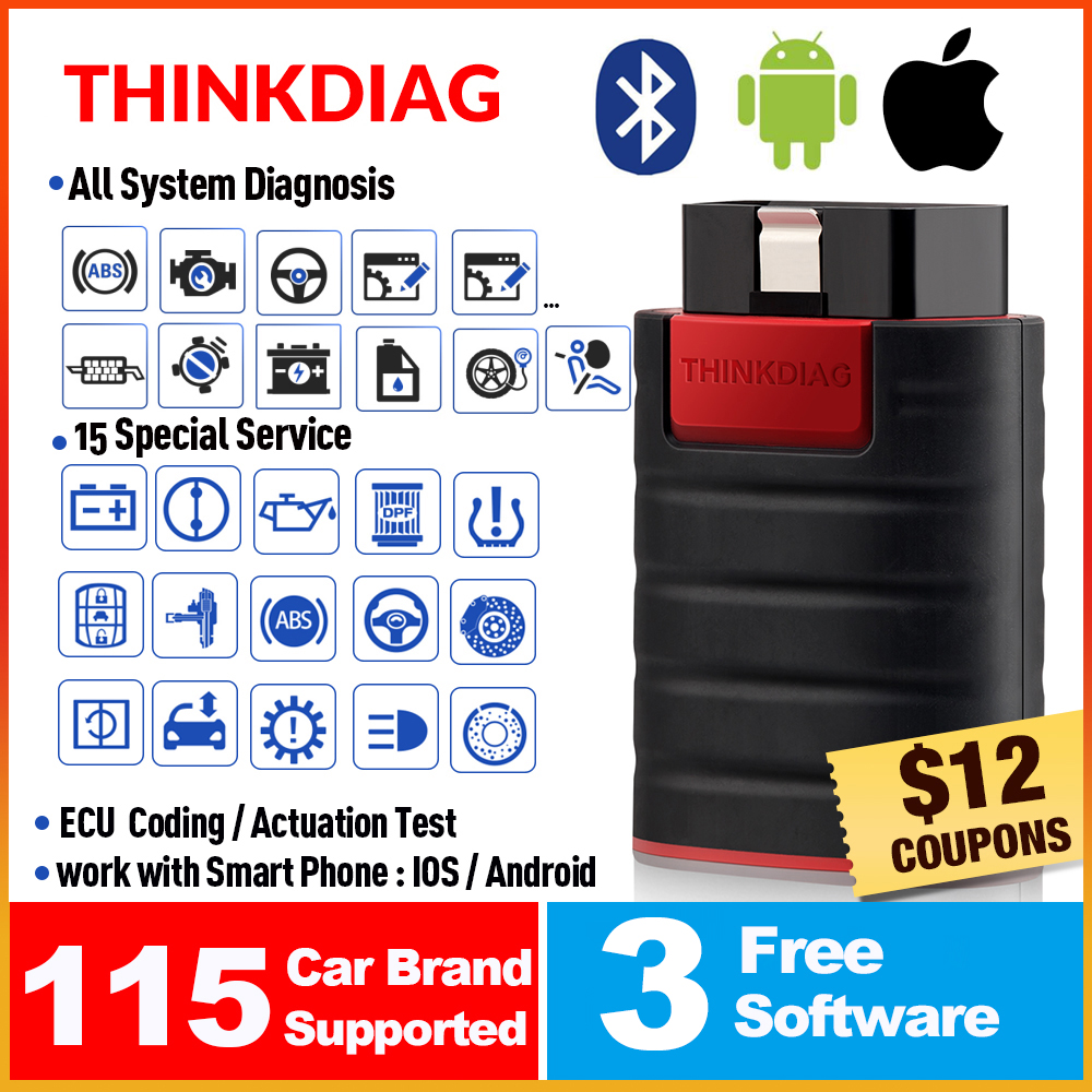 ThinkCar ThinkDiag Obd2 Obdii Code Reader All System Diagnostic Tool 15 Reset Think Diag Scanner Pk X431 Easydiag 3.0 Ap200 Golo