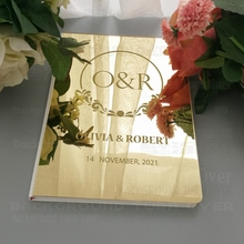 Wedding Guest Book Personalized Custom Mirror Engrave Carve Signature Decor Guestbook Names Date Customized Album Blank  G023