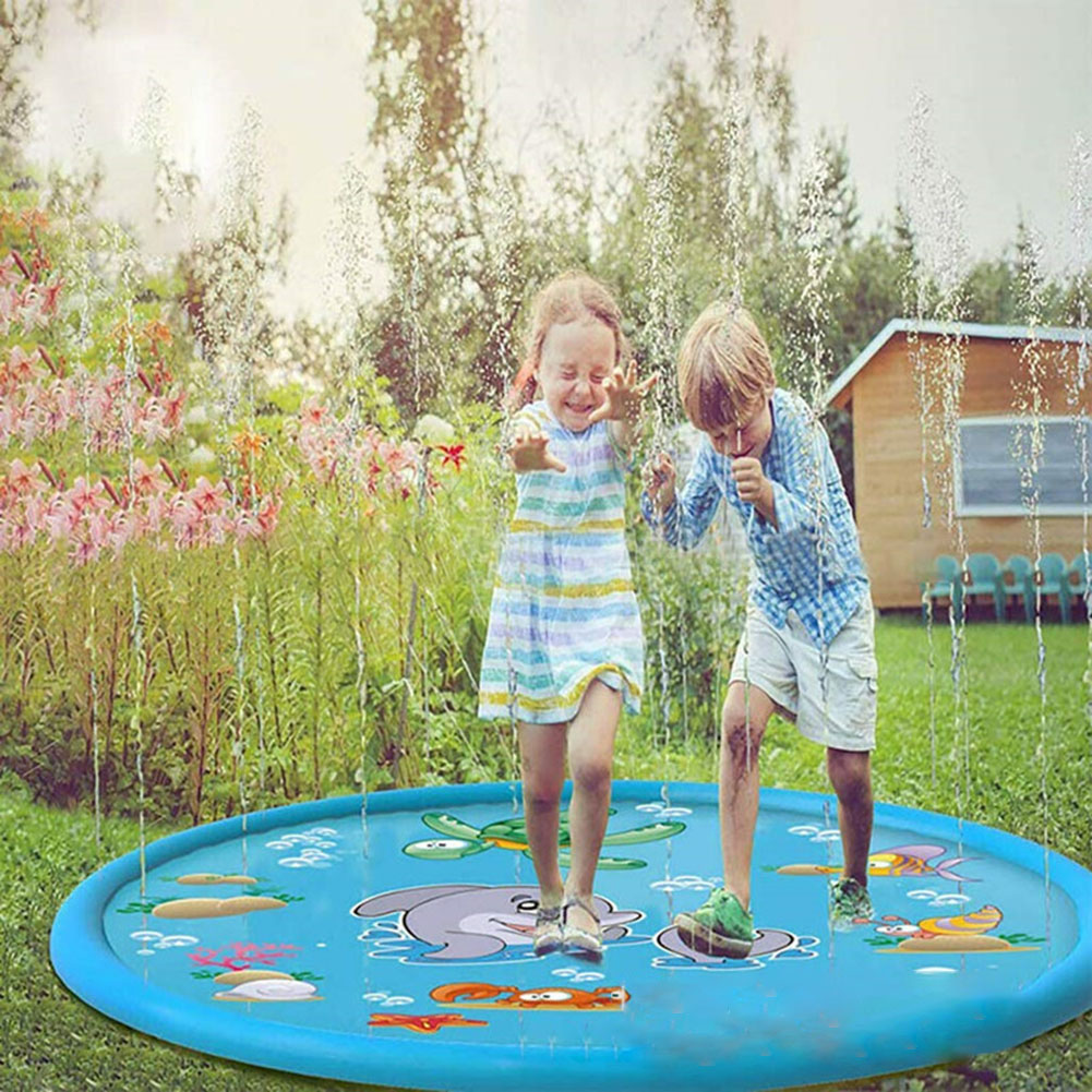 150cm Inflatable Spray Water Mat Lawn Games Pad Sprinkler Play Toys Inflatable Spray Water Cushion Toy Summer Baby Play Mat Drop