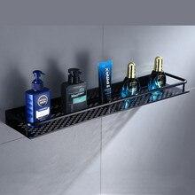 Badkamer Plank Zwart Aluminium Muur Gemonteerde Vierkante Shampoo Plank Cosmetische Planken Keuken Netten Plank Opbergrek Organisator Rack