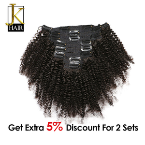 JK Hair Mongolian Afro Kinky Curly Weave Remy Hair Clip In Human Hair Extensions Natural Color Full Head 8Pcs/Set 120G Ship Free(China)