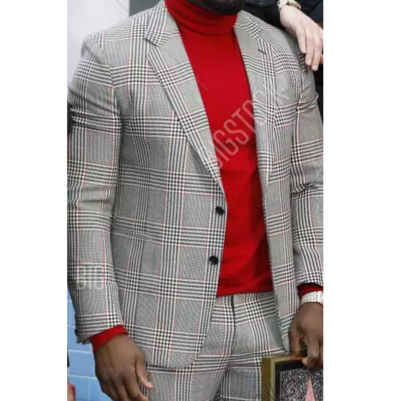 Plaid Suits For Mens Checkered Fashion Clothes 2020 2 Piece Wedding Tuxedos For Groomsmen Male Jacket With Pants Costumes Design