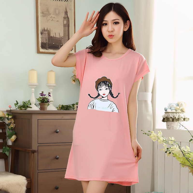 2019 Summer New Style Nightgown Women's Cute Loose-Fit Sweet Hipster Large Size Students Thin Short Sleeve Tracksuit