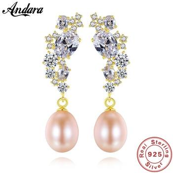 100% S925 pendientes de plata de ley con perla de circonio 8-9mm pendientes de plata de mujer con perla de agua dulce Natural