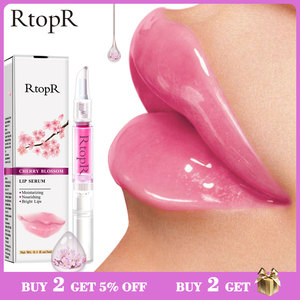 RtopR Cherry Blossom Lip Serum Mask Dry Crack Peeling Repair Reduce Lip Fine Lines Essence Moisturizing Beauty Care 3ml(China)