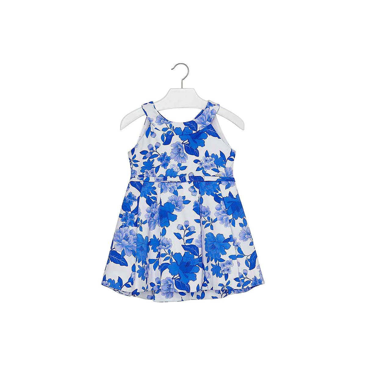 Фото - MAYORAL Dresses 10681447 Girl Children Party fitted pleated skirt Blue Cotton Preppy Style Floral Knee-Length Sleeveless Sleeve box pleated floral volume skirt
