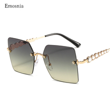 2020 Luxury Square Rimless Sunglasses Women New Fashion Bran