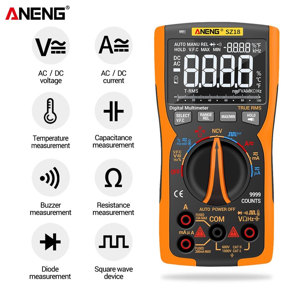 Analog Digital Multimetro Professional True Transistor SZ18 Tester NCV Meter Capacitor Testers DIY 9999 RMS ANENG Lcr Multimeter