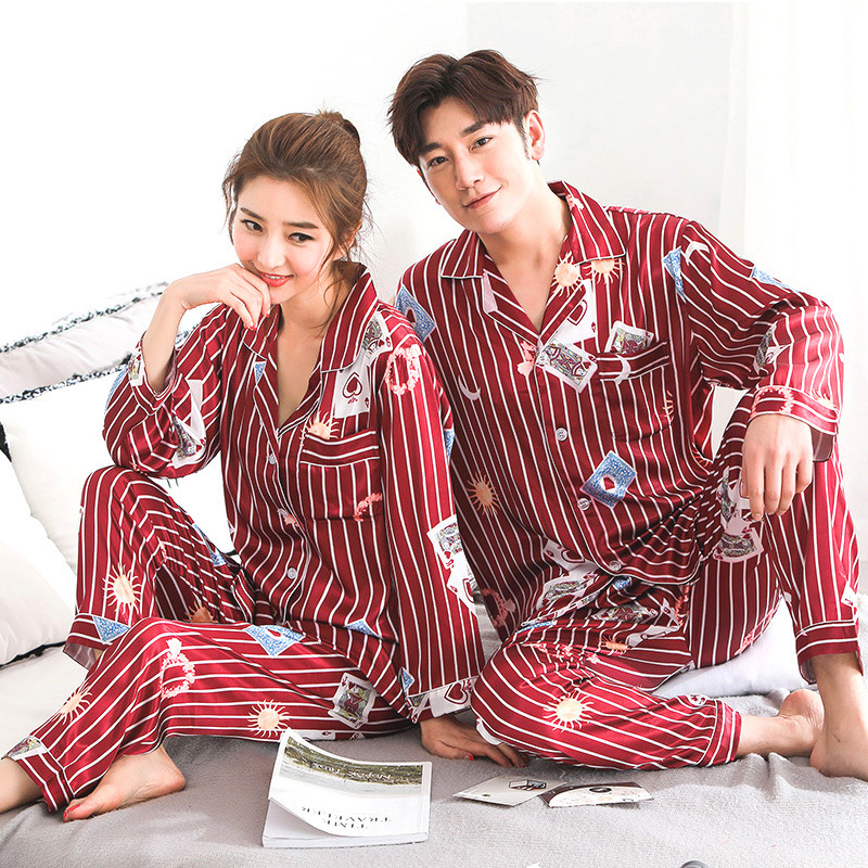 Lovers Pajamas Couples Unisex Silk Sleepwear Soft Pyjama Sets Nightgown Women Pajama Sets Long Sleeve Men Lounge Pijamas