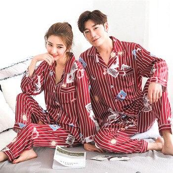 Lovers Pajamas Couples Unisex Silk Sleepwear Soft Pyjama Sets Nightgown Women Pajama Sets Long Sleeve Men Lounge Pijamas