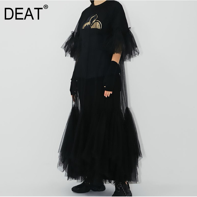 DEAT 2020 New Spring And Summer Round Neck Flare Half Sleeves Mesh Patchwrok See Throw High Quality Pullover Dress JR77101