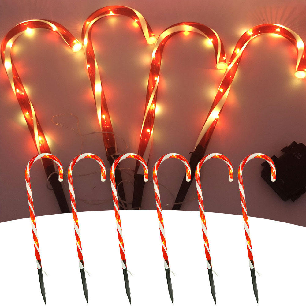 10pcs Christmas Light Pathway Candy Cane Walkway Light 110V Stakes Street Lamp Outdoor Garden Yard New Year's Decoration US Plug