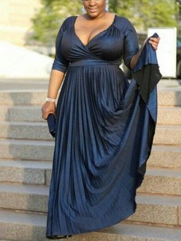 New Navy Blue Satin Mother of the Bride Gowns 2020 V Neck Half Sleeves Wedding Guests Dress Plus Size blue mesh splicing v neck half sleeves bodycon midi dress