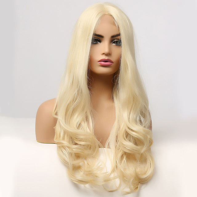 LOUIS FERRE Blonde Lace Front Wig for Women Middle Part Glueless Synthetic Wigs Long Wave Part Lace Wig Golden Cosplay Fake Hair