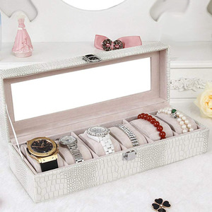 Image 4 - Watch Box Large 6 Men Women Crocodile Grain Leather Display Glass Top Jewelry Case White